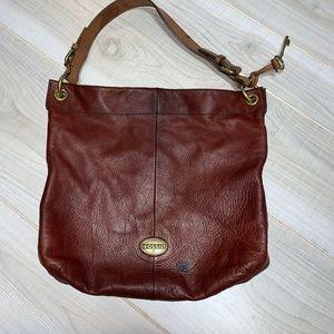 Fossil brown leather shoulder bag